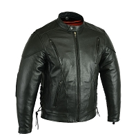 Mens Vented Black Leather Motorcycle Jacket w Zipout Liner, Side Lace