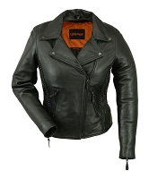 Ladies Black Leather Vented Motorcycle Jacket w Braiding