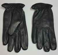 Womens Premium Deer Skin Black Leather Driving Gloves