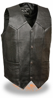 Mens Black Leather Classic Snap Front Biker Vest