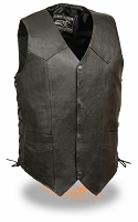 Mens Black Leather Light Weight Side Lace Biker Vest