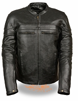 Mens Black Leather Sporty Crossover Jacket Reflective Piping