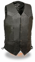 Mens Tall Black Leather Classic 5 Snap Biker Vest Side Lace