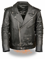 Mens Black Leather Half Belt Motorcycle Jacket