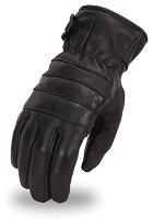 Mens Black Insulated Leather Touring Gloves w Elastic Wrist