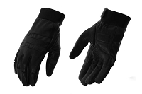 Mens Black  Leather Driving Gloves w Wrist Strap, Reflective Strips