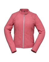 Ladies Pink Leather Sporty Motorcycle Jacket - Only 2X Left