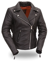 Womens Black Sexy  Hourglass Leather Motorcycle Jacket