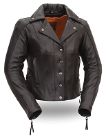 Womens Classic Black Leather Motorcycle Jacket