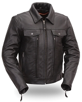 Womens Black Utility Cruising Motorcycle Riding Jacket