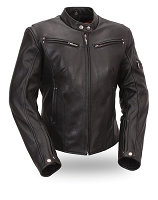 Womens Ladies Black Leather Sleek Vented Scooter Jacket