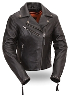 First Classic Women's Riveted Classic Black Leather Motorcycle Jacket