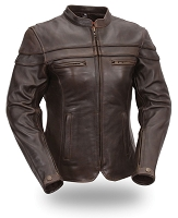Ladies Brown Leather Crossover Scooter Jacket Zipout Liner