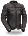 Womens Ladies Form Fitting Sporty Black Leather Scooter Biker Jacket