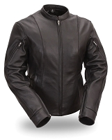 Womens Black Leather Side Buckled M/C Racer Motorcycle Jacket