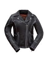 Ladies Distressed Black Leather Asymmetrical Scooter Jacket