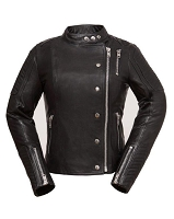 Ladies Black Leather Asymmetrical Scooter Jacket