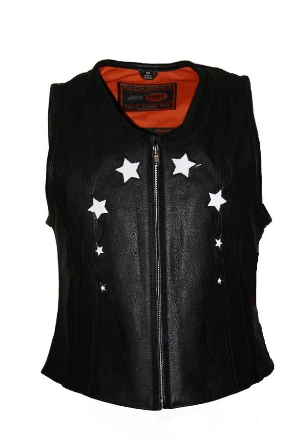 - Womens Ladies Black Reflective Star Leather Biker Motorcycle Vest