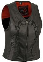 Womens Ladies Black Reflective Star Leather Biker Motorcycle Vest