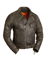 Mens Anthracite Leather Classic Vented Motorcycle Jacket