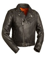 Mens Old School Half Belt Black Leather Scooter Jacket