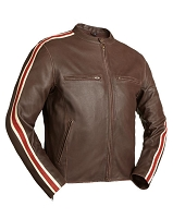 Mens Brown 60's Style Leather Racing Jacket w Red / Beige Stripes