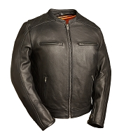 Mens Black Leather Vented Scooter Jacket w Zipout Liner