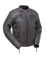Warrior King - Mens Black Leather Vented Scooter Style Jacket