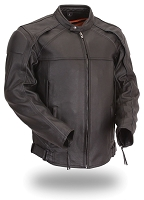 Mens Black Leather Scooter Jacket Reflective Piping Zip Out Liner