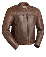 Mens Updated Brown Naked Cowhide Leather Scooter Jacket