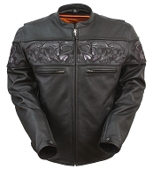 Mens Black Sporty Leather Scooter Motorcycle Jacket Reflective Skulls