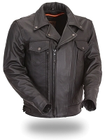 Mens Black Leather Utility Cruiser Jacket with Zip Out Liner