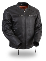 Mens Black Sporty Leather Scooter Motorcycle Jacket with Side Stretch