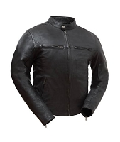 Mens Black Leather Vented Motorcycle Jacket w Mandarin Collar