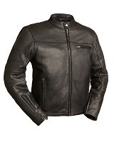 Mens Black Leather Vented Racing Jacket w Zipout Liner
