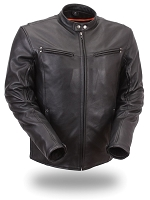 Mens Black Sleek Leather Vented Scooter Motorcycle Jacket