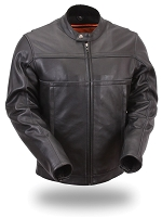 Mens Black Leather Scooter Jacket w Reflective Piping