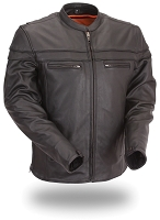 Mens Black Leather Sport Scooter Motorcycle Jacket with Zip Out Liner