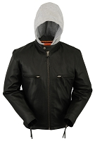Mens Black Sleek Leather Scooter Motorcycle Jacket with Removable Hood