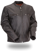 Mens Black Leather Vented Scooter Jacket Stretch Liner