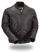 Mens Black Updated Sleek Leather Scooter Motorcycle Jacket