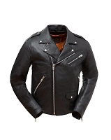 Mens Black Leather Vented Classic Biker Jacket