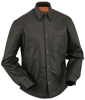 Mens Black Long Sleeve Leather Shirt Jacket w Gun Pockets