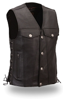 Medium - Mens Black Leather Buffalo Nickel Snap Motorcycle Vest w/ Side Lace