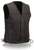Mens Black Leather Single Back Panel Motorcycle Biker Vest