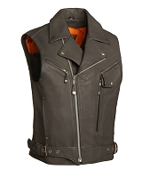 Reckless Outlaw - Mens Black Leather Vented Biker Vest