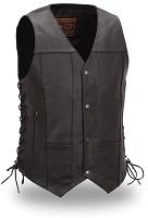 Mens Black Leather 10 Pocket Motorcycle Vest with Side Lace