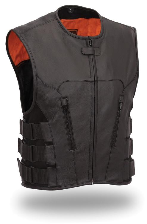 Mens Black Leather Swat Team Style Motorcycle Vest