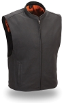 Mens Black Leather Motorcycle Riding Vest with Single Panel Back