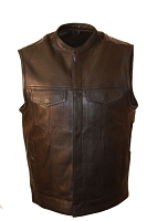 Mens Black Single Panel Motorcycle Biker Vest with Gun Pockets